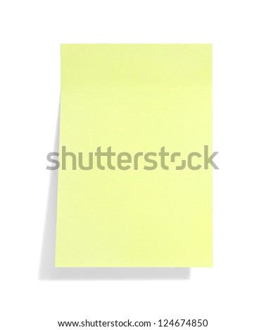 yellow sticky note with shade on white - stock photo