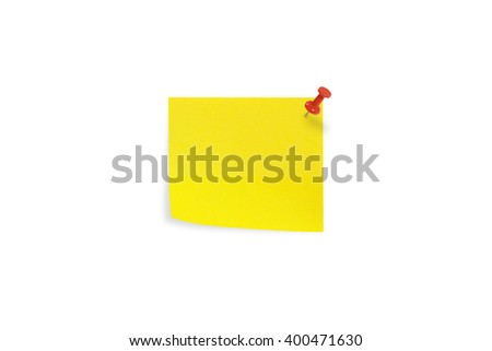 Yellow sticky notes isolated on white background. - stock photo