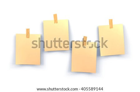 yellow sticky notes isolated on white background, 3d illustrator - stock photo