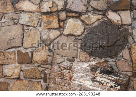 yellow stone wall with a large stone