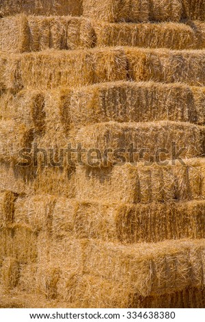 Yellow straw bale wall texture background - stock photo