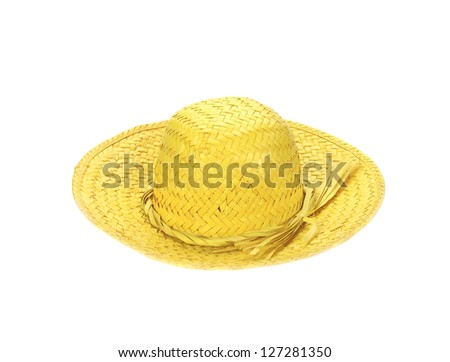 yellow straw hat on white background (cut out) - stock photo