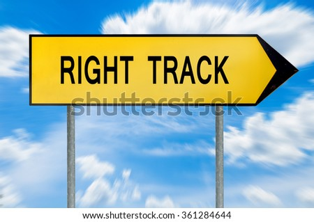 Yellow street concept right track sign