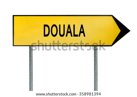 Yellow street concept sign Douala isolated on white