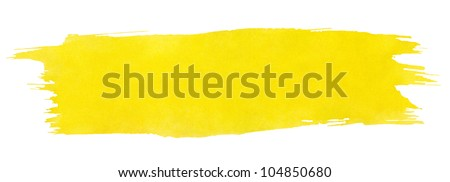 Yellow stroke of watercolor paint brush isolated on white