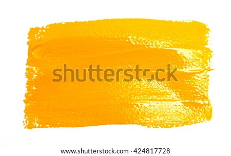 Yellow strokes of the paint brush isolated on a white - stock photo