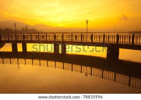 Yellow style Tamsui Sunset, new Taipei, Taiwan - stock photo