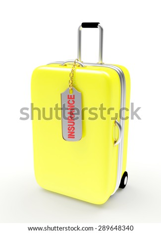 Yellow suitcase and label with word INSURANCE isolated on white background - stock photo