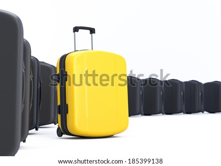 Yellow Suitcase. Difference concept - stock photo
