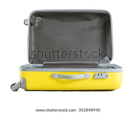 yellow suitcase isolated on white