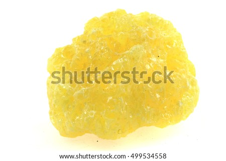 yellow sulphur mineral isolated on the white background