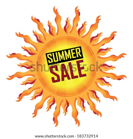 Yellow Summer Sale Icon, Sticker or Label For Seasonal or Special Promotion Isolated on White Background - stock photo