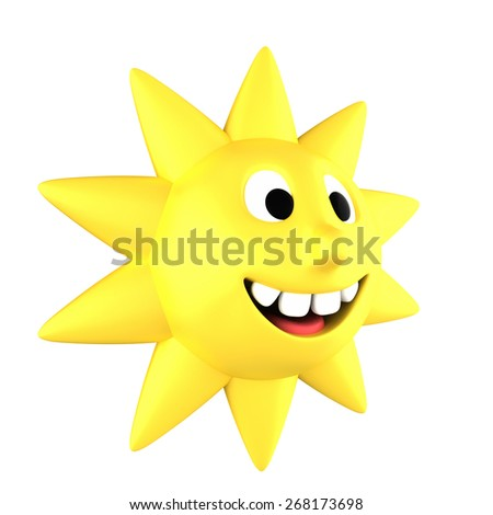 Yellow sun smiling showing teeth turned sideways, isolated on white background - stock photo