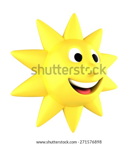 Yellow sun smiling turned sideways, isolated on white background - stock photo