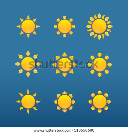 Yellow sun vector icons isolated on blue background