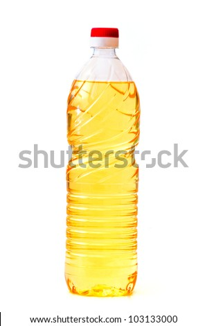 Yellow sunflower oil in a plastic bottle - stock photo