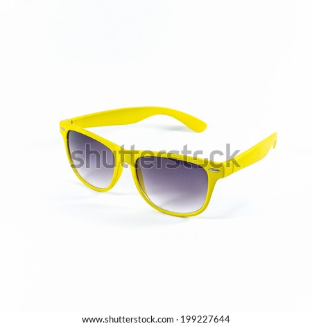 yellow sunglasses isolated on a white background - stock photo