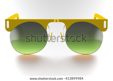 Yellow sunglasses isolated on white background. With clipping path. 3D render - stock photo