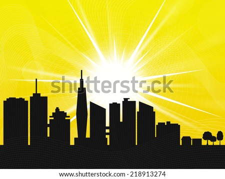 Yellow Sunrise over the city - stock photo
