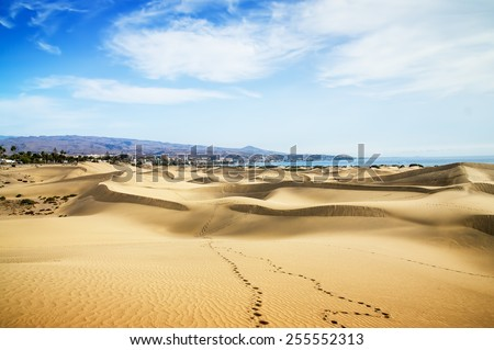 Yellow sunset in sand dunes with footprints. Canary islands, Maspalomas.