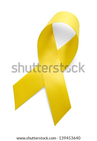 Yellow Support the Troops Ribbon Isolated on White Background. - stock photo
