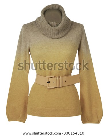 yellow sweater isolated on white background - stock photo