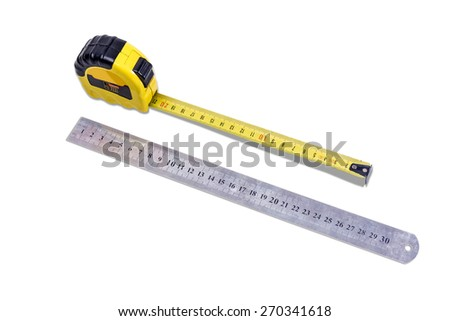 Yellow tape measure and metal ruler to measure the dimensions of the metric system on light background.  Isolation.