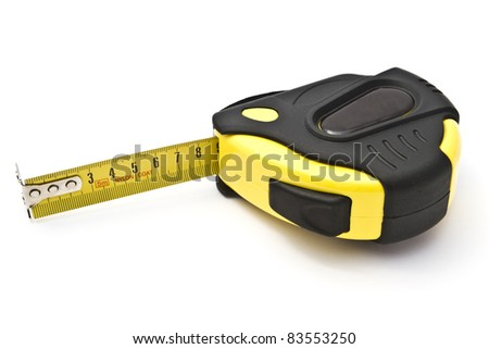 Yellow tape measure closeup on white background
