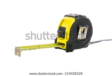 Yellow tape measure isolated on over white background - stock photo