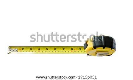 Yellow tape measure isolated on white from above