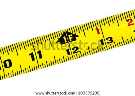 Yellow tape measure rule at the 1 foot mark diagonally placed on pure white background - stock photo