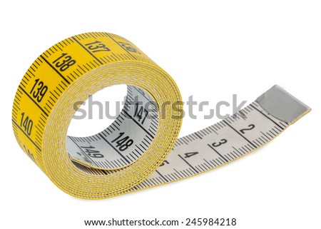 yellow tape measure, symbolic photo for diet control and precision - stock photo