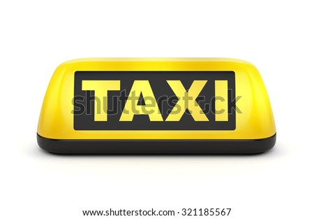 Yellow taxi automobile sign isolated on white background