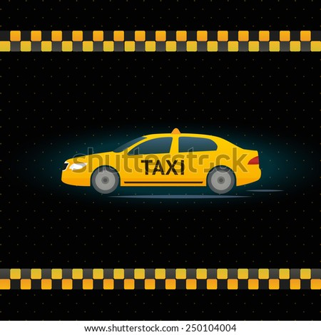 Yellow Taxi cab on black background