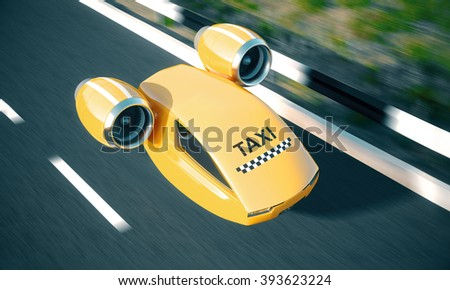 Yellow taxi car driving on a road. Fast motion blurred taxicab perform fast delivery of passenger - stock photo