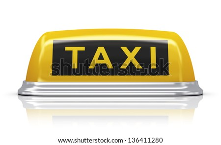 Yellow taxi car roof sign isolated on white background with reflection effect - stock photo