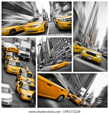 Yellow taxis collage, New York City, USA - stock photo