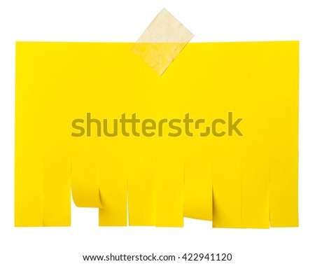 Yellow tear off paper notice with copy space for text isolated on white - stock photo