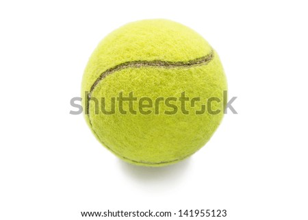 Yellow tennis ball isolated over white