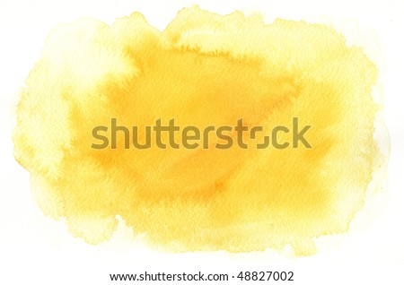 yellow texture watercolor background painting -  with space for your design