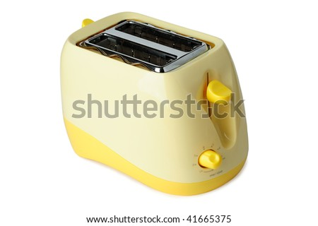 Yellow toaster isolated on white