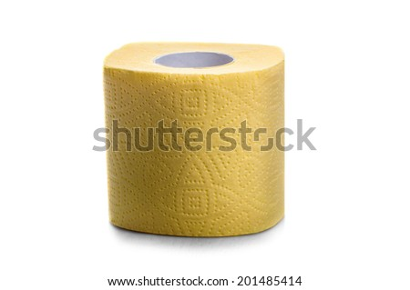 Yellow toilet paper - stock photo