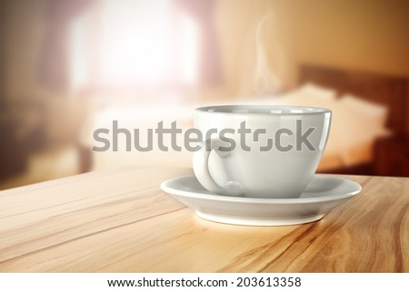 yellow top of coffee and bedroom  - stock photo