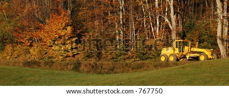 Yellow Tractor - stock photo