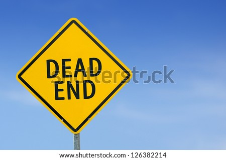 "Yellow traffic sign ""Dead end"" on the sky background - stock photo"