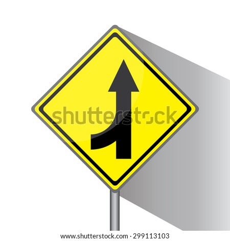 Yellow traffic square shaped Merging Lane Left type 2 sign with post on white background