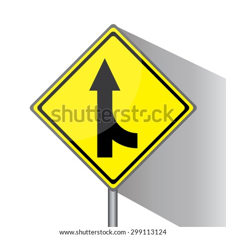 Yellow traffic square shaped Merging Lane Right type 2 sign with post on white background