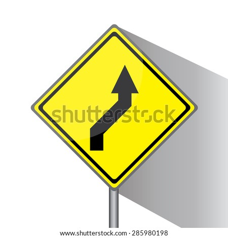 Yellow traffic square shaped Right Double Bend sign with post on white background