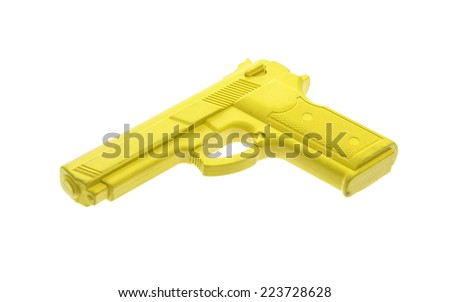 Yellow training gun isolated on white, law enforcement - stock photo