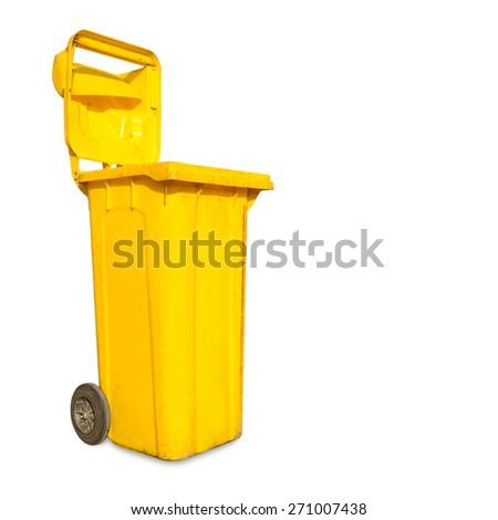 Yellow trashcan isolated on white background - stock photo